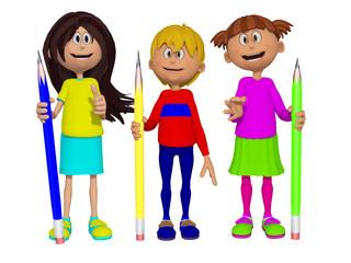 Schoolchildren with pencils 3d