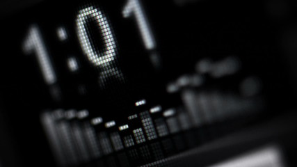 Electronic music device screen with equalizer close up