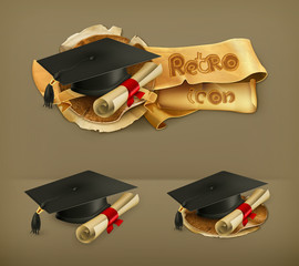 Graduation cap and diploma icon