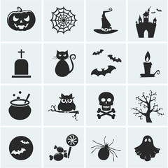 Set of vector halloween icons.