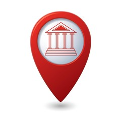 Map pointer with museum icon