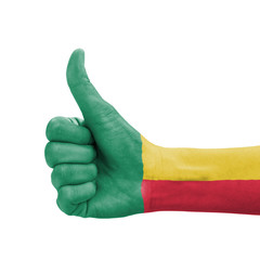 Hand with thumb up, Benin flag painted