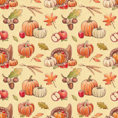 Autumn seamless pattern with harvest illustrations