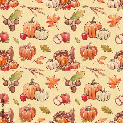 Autumn seamless pattern with harvest illustrations