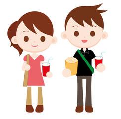 映画館デートをする若いカップル