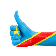 Hand with thumb up, Democratic Republic of Congo flag painted