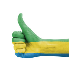 Hand with thumb up, Gabon flag painted