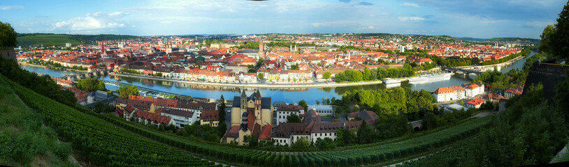 panoramic view of the Wurzburg town in Germany