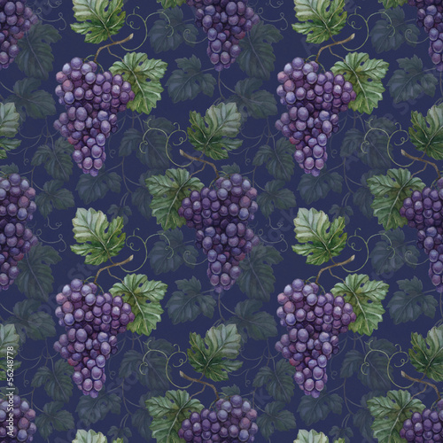 Seamless pattern with watercolor grapes