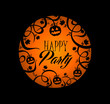 Halloween text pumpkin lantern and spooky forest banner EPS10 fi