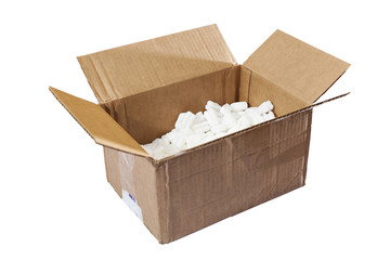 open box with packing 'peanuts' inside