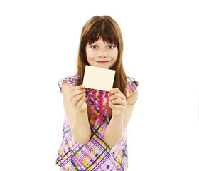Girl holding empty card on white background