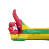 Hand with thumb up, Togo flag painted
