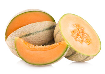 cantaloupe melons isolated on white background
