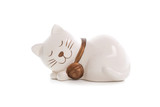 Sleep cat Figurine on White Background