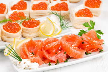 Tartlets with caviar and salmon