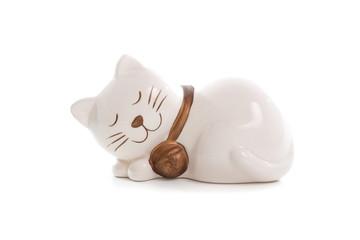 Sleep cat Figurine on White Background