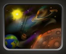 Vue de la fenêtre pour ouvrir l'espace, les planètes, le soleil et l'étoile, vecteur
