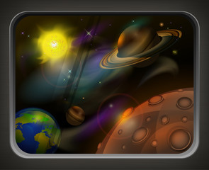 View from window to open space, planets, sun and star, vector