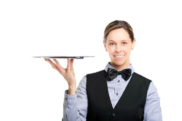 Female waiter holding an empty dish