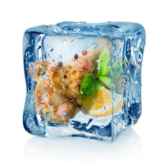 Fried chicken thighs in ice cube