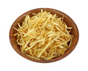 Crispy Fine Potato Sticks Wood Bowl