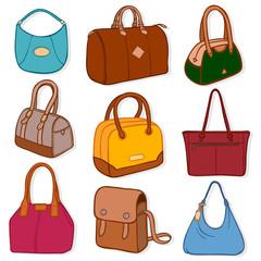 Latest fashion handbags and purses, on white