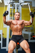 Muscle shaped man exercise on sport gym