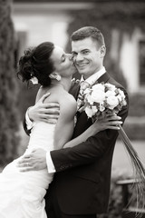 Happy young couple just married