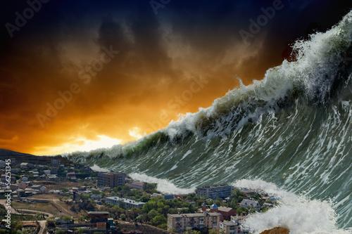 Leinwanddruck Bild Tsunami waves