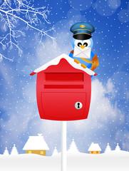 bird postman in winter