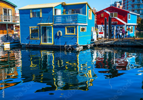 City on the water Blue Red Houseboats Fisherman's Wharf Victoria Canada