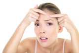 Acne spot pimple - skin care girl and skin problem poster