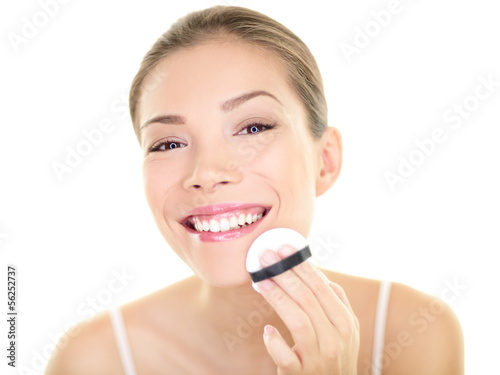 Makeup beauty Asian woman applying foundation face