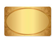 Gift coupon, Gift card, Ticket. Gold floral pattern, frame