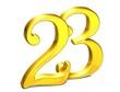 3D Gold Number twenty-three on white background