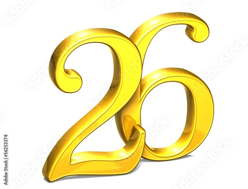 3D Gold Number twenty-six on white background