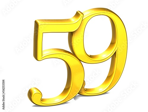 3D Gold Number Fifty-nine on white background