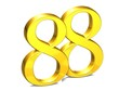 3D Gold Number eighty-eight on white background