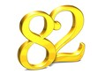 3D Gold Number eighty-two on white background