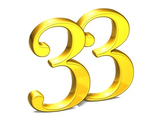 3D Gold Number thirty-three on white background