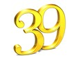 3D Gold Number thirty-nine on white background