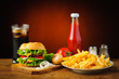 Still life with hamburger menu