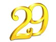 3D Gold Number twenty-nine on white background