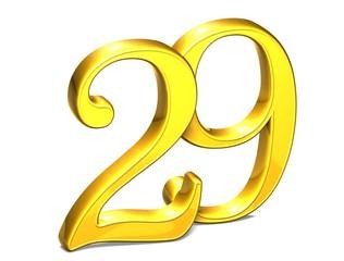 3D Gold Number twenty-nine on white background