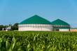 Leinwandbild Motiv Biogas-Anlage mit Maisfeld 3085