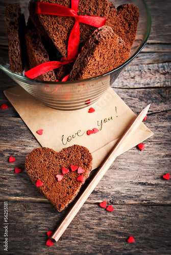 Card with Message Love You and Chocolate Cookies
