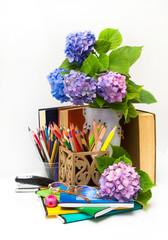 Teacher  Day.Flowers hydrangeas and school subjects.