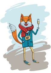 Fashion Illustration of Hipster Fox with Camera