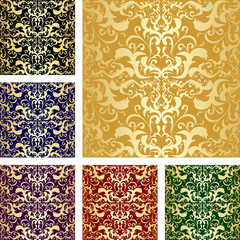 Golden seamless luxury pattern. Set of six variants
